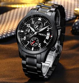 赛卡西欧自动机械手表精钢全黑防水表夜光三眼多功能运动男士手表