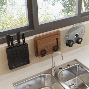 不锈钢厨房置物架壁挂式免打孔菜板砧板刀架锅盖收纳调味料品架子