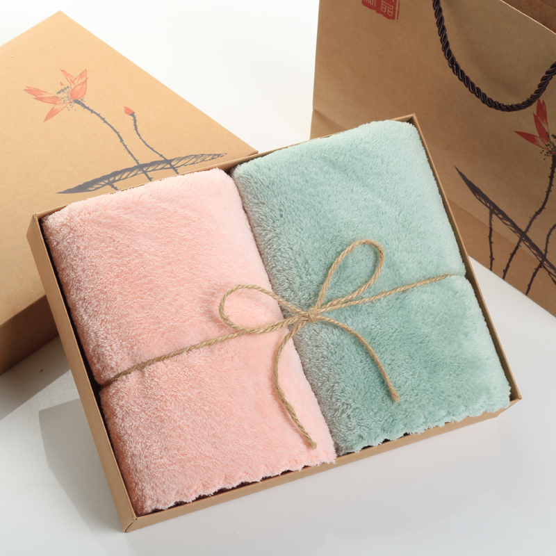 Coral velvet towel gift box 2 2 sets of suits than cotton absorbent home wedding back