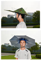 Wearing an umbrella hat large hat umbrella sunscreen windproof tri-fold umbrella head umbrella folding two fold two fold fishing photography
