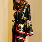 Dancing flower robe Q42 original catwalk big temperament robes large size retro travel holiday dress