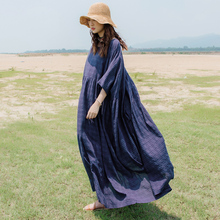 C29 Low-key Beauty Temperament Travel Loose Garment Retro-classical Literature and Art Long-style Large Size Display Lean Cotton and Hemp Dress