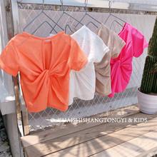 中小童纯色T恤衫 女童竹节棉个性 19夏季新款 漏背舒适短袖 包邮 童装图片