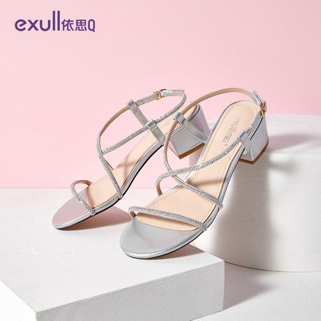 依思q女鞋2019夏季新款罗马鞋女凉鞋网红仙女风中跟粗跟百搭ins潮商品大图