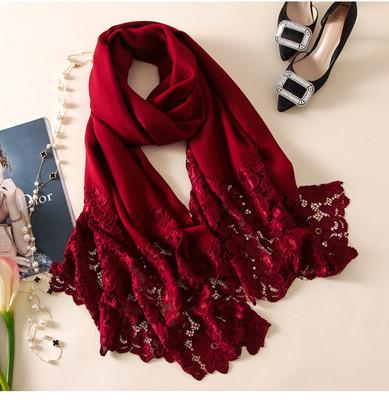 酒红色羊绒围巾披肩两用女秋冬季镂空蕾丝加厚保暖纯羊毛围巾绣花