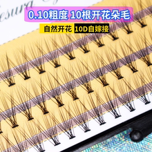 Self-grafting eyelashes of 10 0.1 mm hairs from Korean Scarecrow with natural dense single-cluster planting simulated false eyelashes