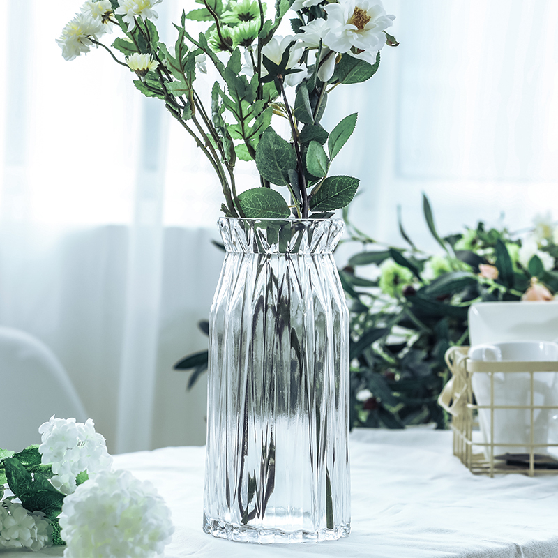 装饰摆件_欧式玻璃花瓶透明 客厅彩色玻璃花瓶 家居装饰摆件插花满天星干花5元优惠券