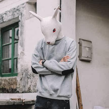 兔子先森春秋日系复古卫衣男圆领宽松青少年学生打底补丁帅气上衣