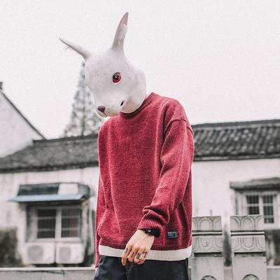 兔子先森毛衣男圆领套头春秋季韩版潮流长袖针织衫打底毛线衣毛衫