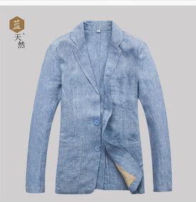 春秋男士100%亚麻西服小西装男装外套韩版修身便西棉麻上衣青年装