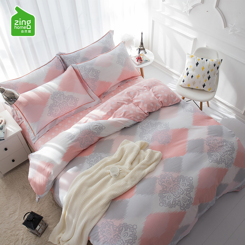 自然醒床上用品天丝磨毛四件套亲肤裸睡简约北欧40支超柔床单被套
