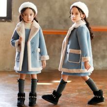 女童大衣冬装2018新款加绒棉衣外套童装中大童洋气儿童毛毛呢大衣