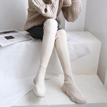 Korean version of children's knee boots in autumn 2019 new stockings boots thick sole sleeve elastic thin boots fashionable