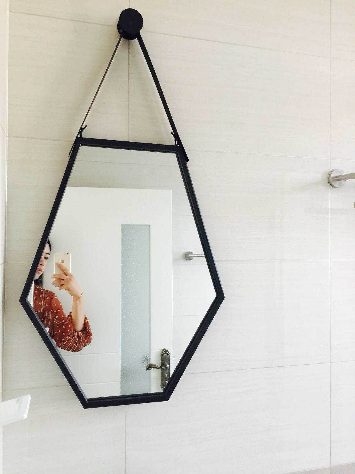 北欧浴室镜卫生间镜子壁挂式六边形挂镜异形装饰镜简约现代试衣镜