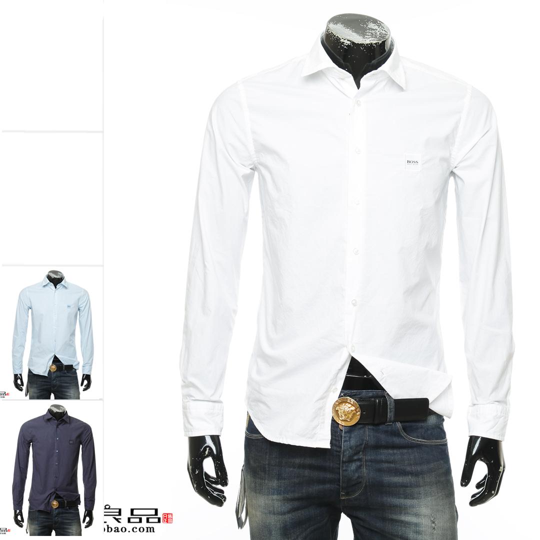 叁仟良品正品 Hugo Boss 橙标男士纯色长袖衬衫50388556 10206321