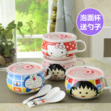 Creative ceramic instant noodles cup oatmeal breakfast cup big belly cup milk cup with lid spoon microwave heating rice bowl