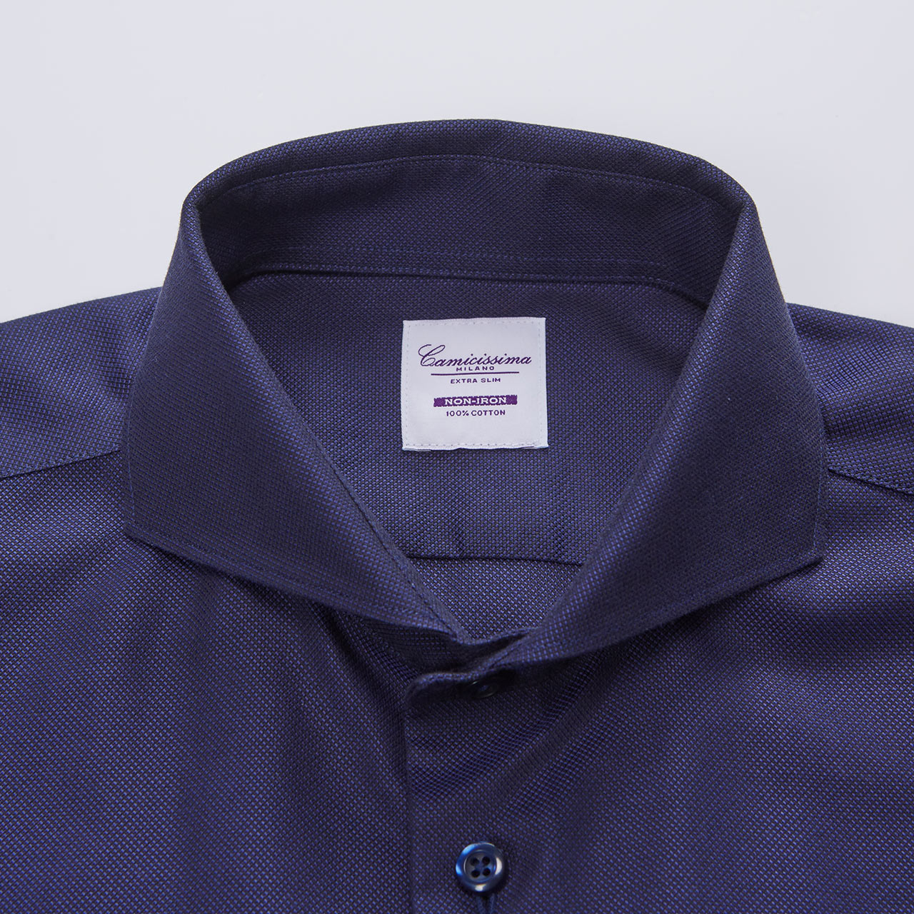 CAMICISSIMA/恺米切秋新款男士修身免烫长袖衬衫纯棉商务蓝色衬衣