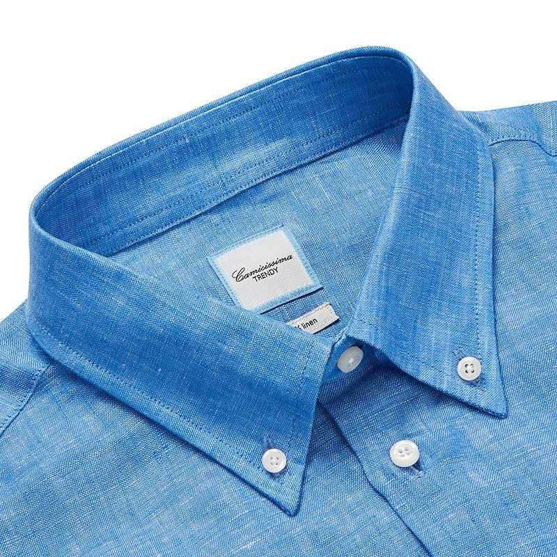 CAMICISSIMA/恺米切春秋季男士长袖亚麻衬衫 韩版深蓝色时尚衬衣