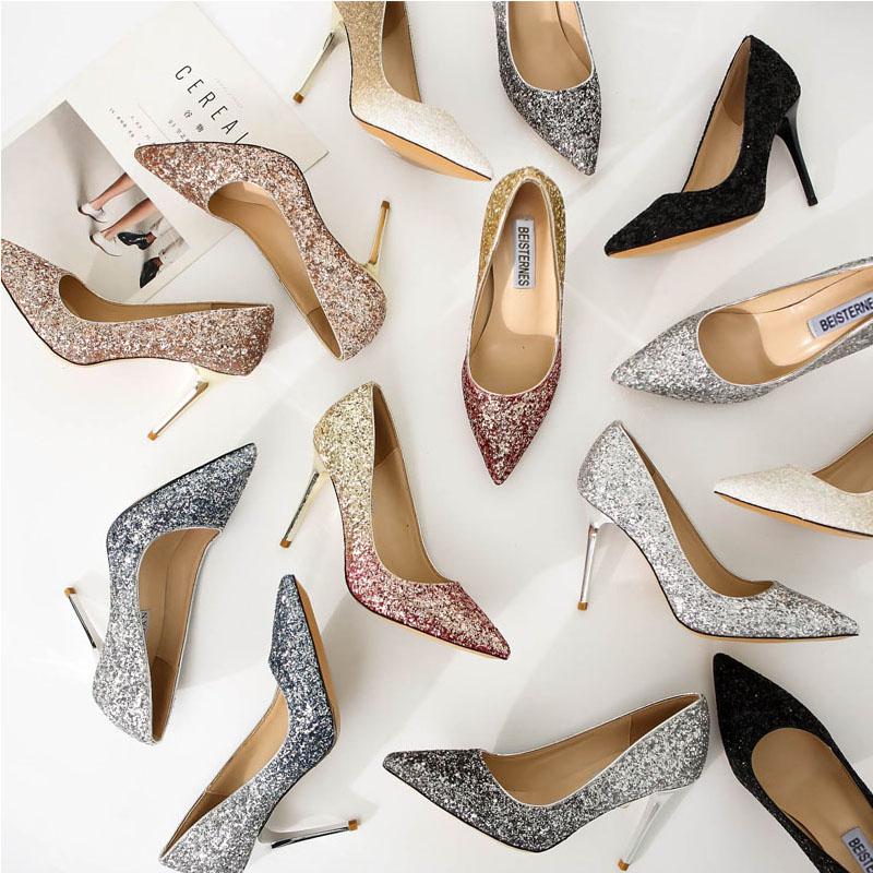 水晶单鞋女 中跟