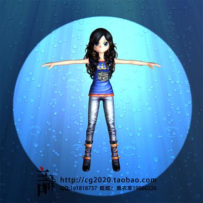 MAYA模型 飘逸头发姑娘 劲舞团女孩 高精模型+材质+贴图 卡通