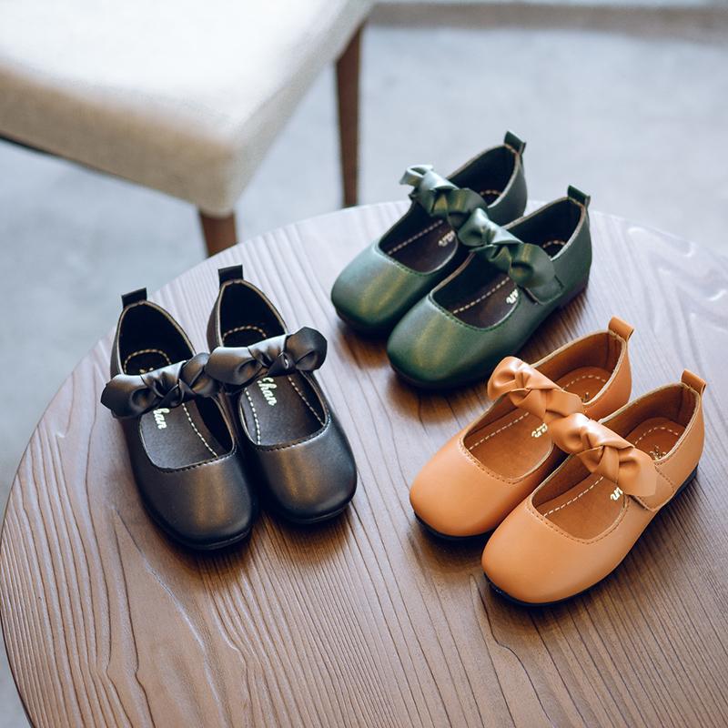 女童皮鞋2017秋季新款儿童蝴蝶结韩版单鞋学生方口鞋中大童公主鞋