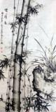 中式装饰画玄关竖版走廊过道客厅竹报平安花鸟挂画字画画芯未装裱