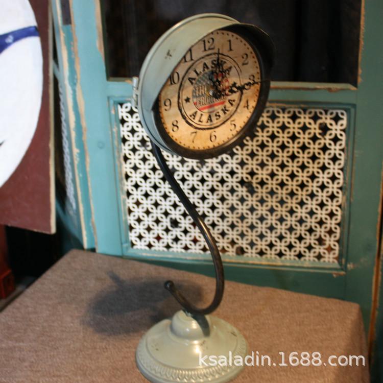 美式乡村复古风格铁艺钟表台面钟表家居客厅卧室商铺橱窗装饰钟表