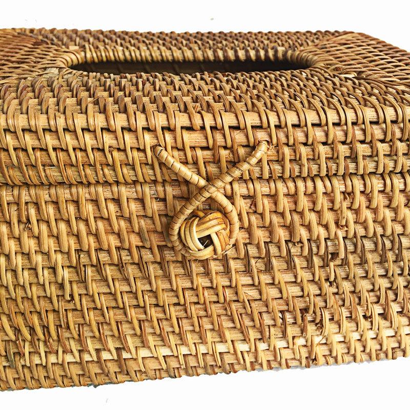 越南藤编纸巾盒餐纸筒盒客厅车用抽纸盒创意简约酒店高档家用定制