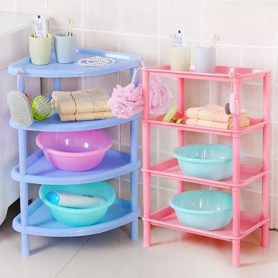 浴室置物架卫生间洗澡收纳架塑料脸盆架厨房储物架方形落地四层架哪里购买