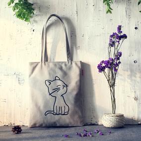 原创帆布包日韩女大包包卡通环保袋简约学生手提包文艺复古单肩包