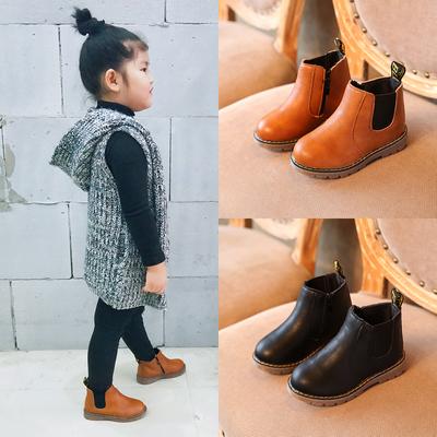 2018秋冬季新款儿童靴子女童短靴加绒男童鞋中大童马丁靴皮靴棉鞋