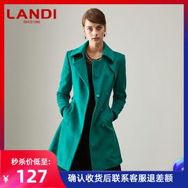 LANDI蓝地厚款系带收腰羊毛呢子大衣中长款毛呢外套2018秋冬新款图片
