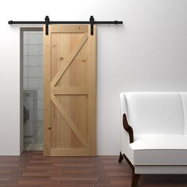 实木套装美式谷仓门定制原木杉木橡木素门室内卧室卫生间推拉门图片