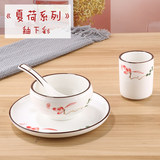 Hotel restaurant tableware ceramic pure white plate dishes set hotel club tableware three or four sets