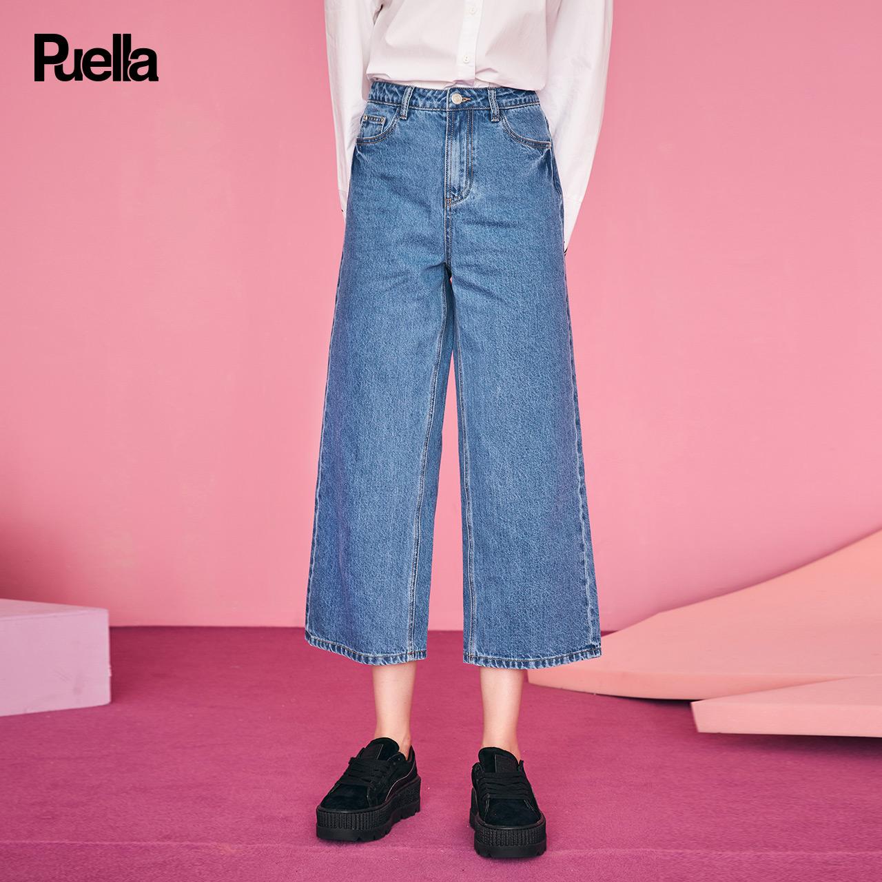 2018秋季新款韩版直筒裤港味裤子女复古阔腿牛仔裤高腰,牛仔裤女款