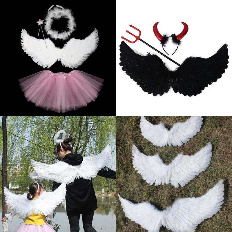 成人儿童婚庆羽毛lolita天使恶魔翅膀cos爱神道具燕形走秀拍摄照