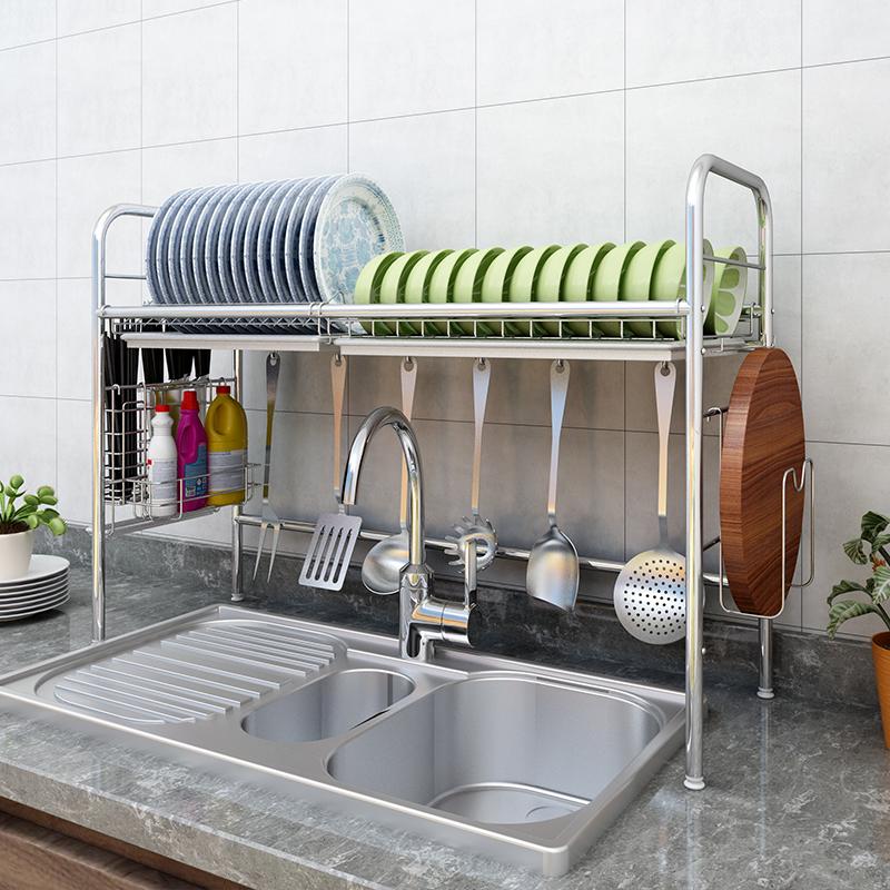 厨房置物架水槽沥水碗架304不锈钢收纳放碗盘碟架洗碗池沥水架子