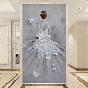 欧式竖版玄关壁画油画抽象艺术舞者婚纱背影墙纸走廊过道壁纸墙布
