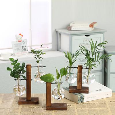 简约创意玻璃瓶花瓶木架水培花瓶绿萝植物透明花瓶桌面摆件装饰品
