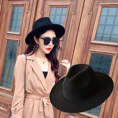 黑色英伦宽檐新品帽子秋天女式礼帽秋冬季女士爵士帽女毛呢毡帽