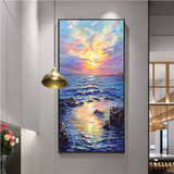 Sea sunrise abstract oil painting porch decorative painting Nordic aisle corridor vertical paintings modern minimalist hand painting