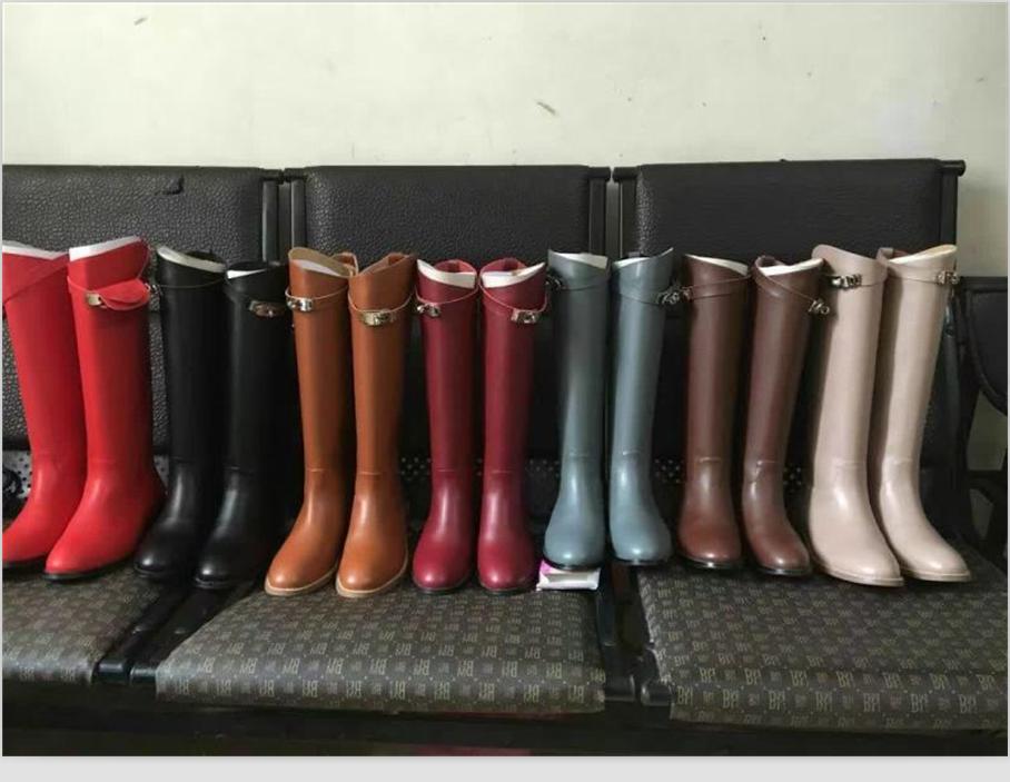 欧洲站2019春秋新款真皮长靴子骑士靴h高筒靴平底女靴直筒马丁靴