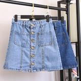 韩版新款夏装女装ins单排扣A字半身裙学院风高腰显瘦包臀牛仔短裙