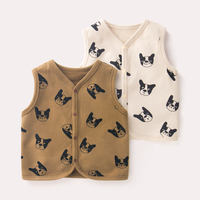 Baby vest spring and autumn newborn warm vest shoulder boy vest autumn and winter girls knit children baby spring