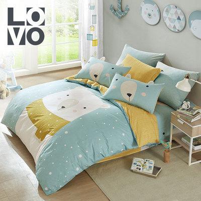 lovo家纺四件套卡通全棉纯棉磨毛印花被套床单1.2/1.5米单双人床