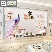 3d电视背景墙壁纸中式方框家和5d立体凹凸壁画客厅卧室装饰8d墙布
