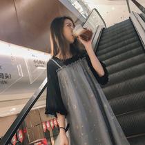 大码女秋季连衣裙2019新款春夏胖mm藏肉腰粗遮肚子胖妹妹减龄套装