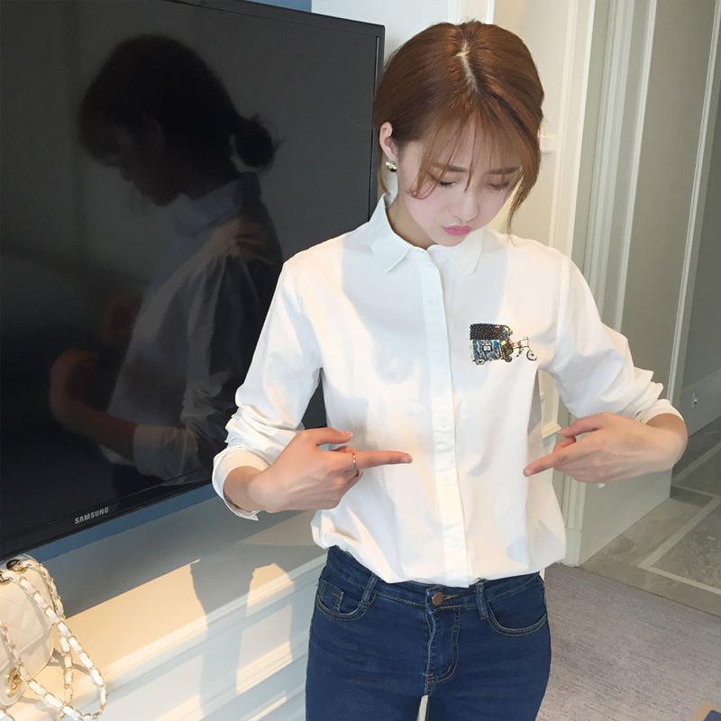 [冬范]春装小清新三轮车纯色印花短长袖衬上衣学生打底衫衬衣女装