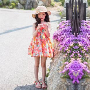 夏季女童连衣裙儿童碎花沙滩裙海边度假中大童吊带裙女孩公主裙子
