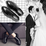Groom's increased wedding dress shoes British summer business casual shoes men's leather with suit shoes groomsman